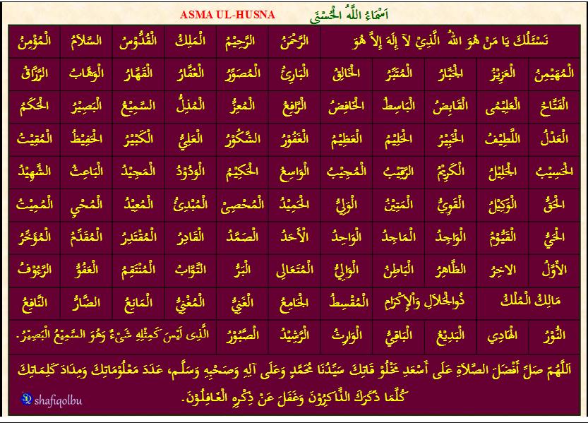 Asmae Husna- Names o Allah